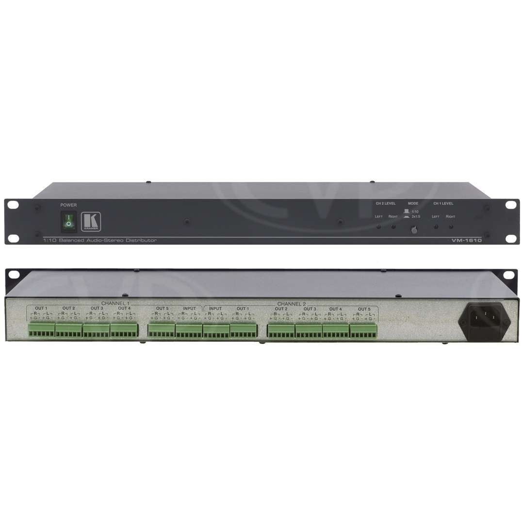Kramer Electronics VM-1610 (VM1610) 1:10 balanced stereo audio distribution amplifier