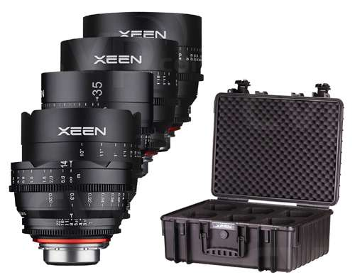 XEEN Cinema lens kit includes 14mm, 24mm, 35mm, 50mm and