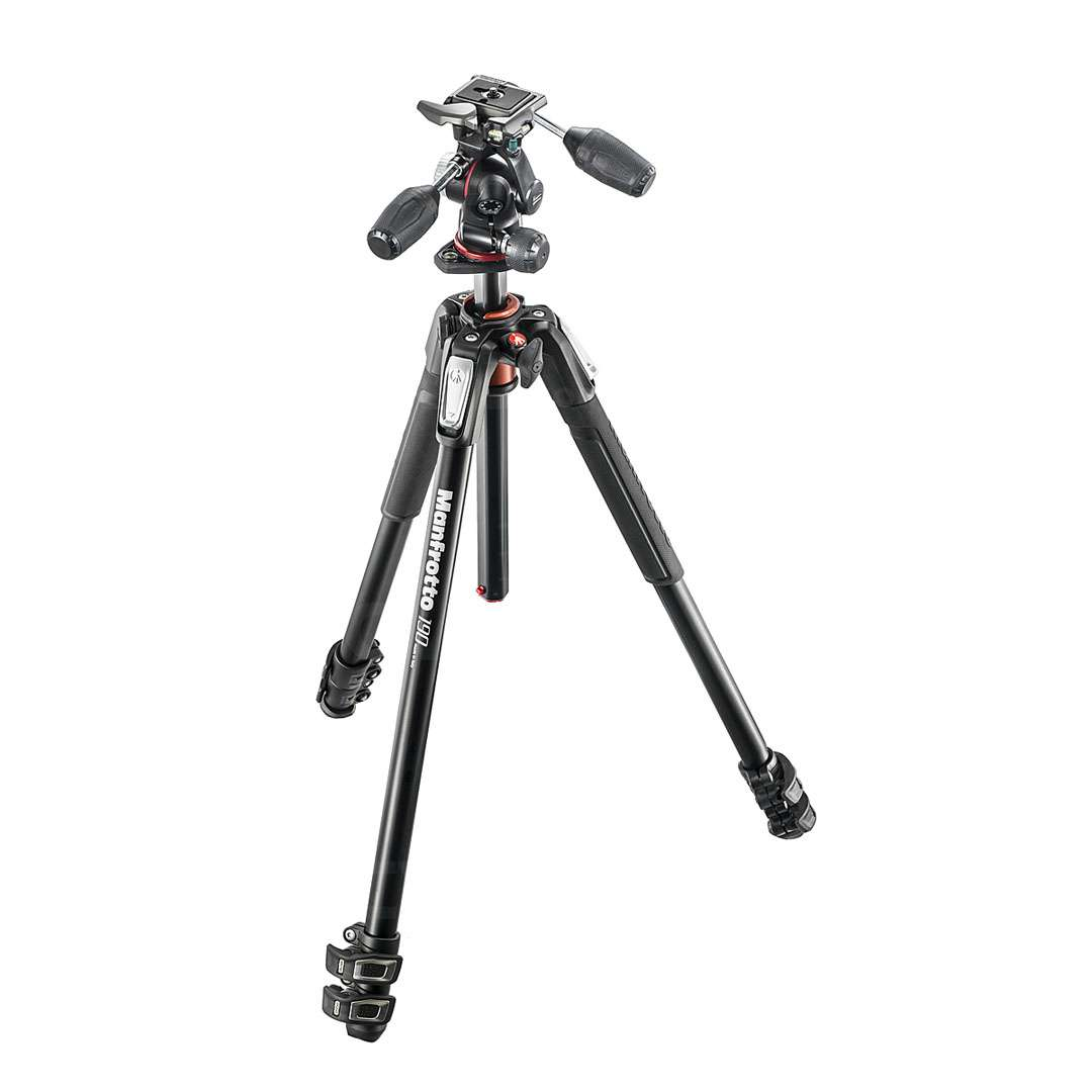 Manfrotto MK190XPRO3-3W (MK190XPRO3-3W) 190 Aluminium 3-Section Kit With 3-Way Head