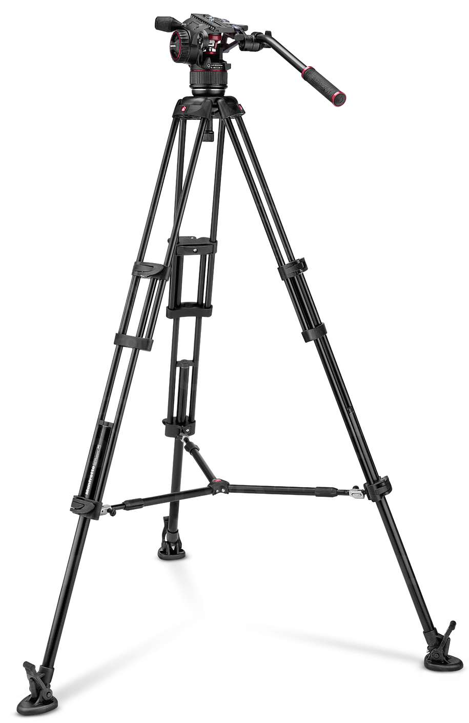 Manfrotto MVKN8TWINM (MVKN8TWINM) Nitrotech N8 and 546B Twin Legs Tripod with Mid-Level Spreader