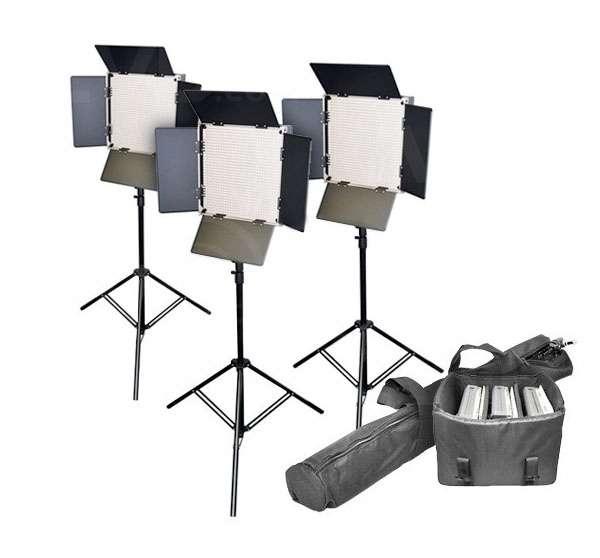 Lishuai LED1000AVLK-3 (LED1000AVLK-KIT) 3 x Daylight LED Panel Kit