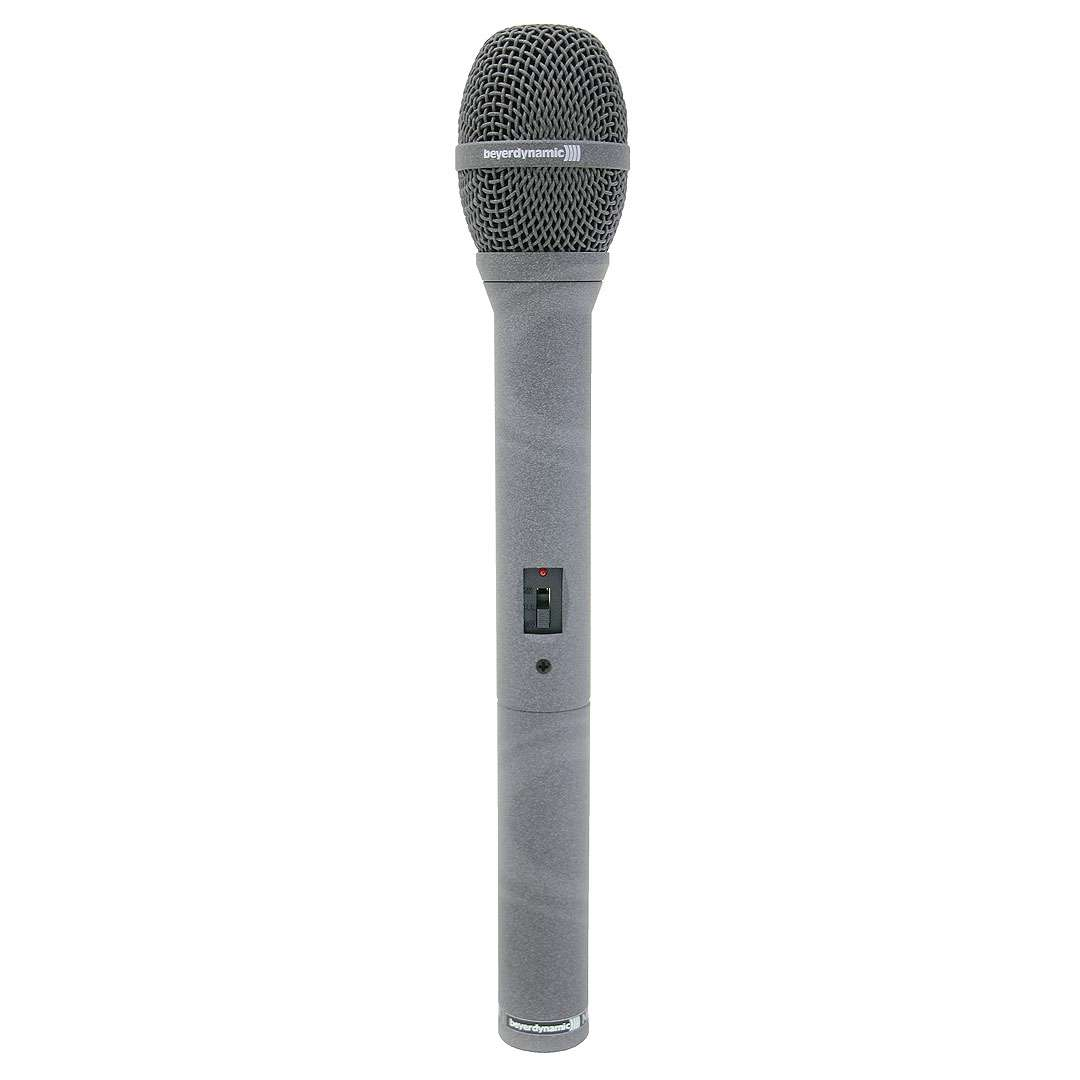 Beyerdynamic MCE 58 (MCE-58) condenser microphone for reporting (omnidirectional), battery powered (1.5 V), unbalanced system for DAT/MD recorders, includes windscreen