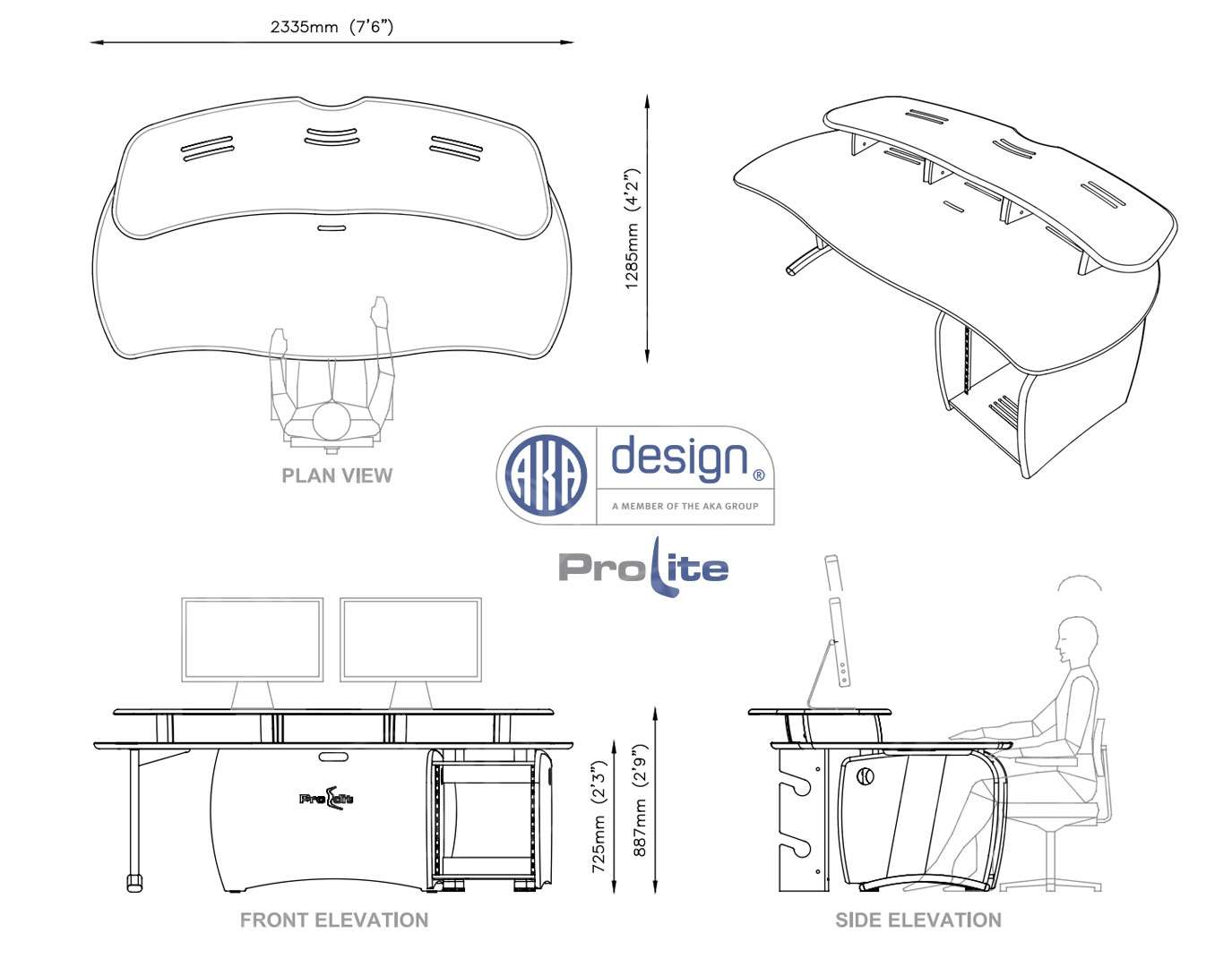 AKA Design Prolite Desk - elevations