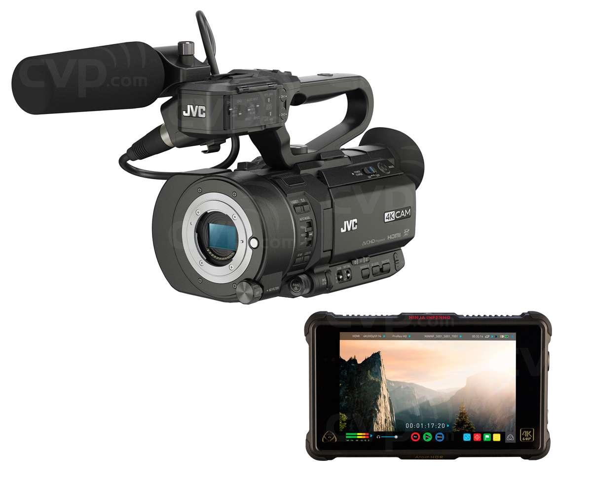 JVC GYLS300NJAIN1 (GYLS300-NJAIN1) GY-LS300 4K/HD Camcorder, Atomos Ninja Inferno and