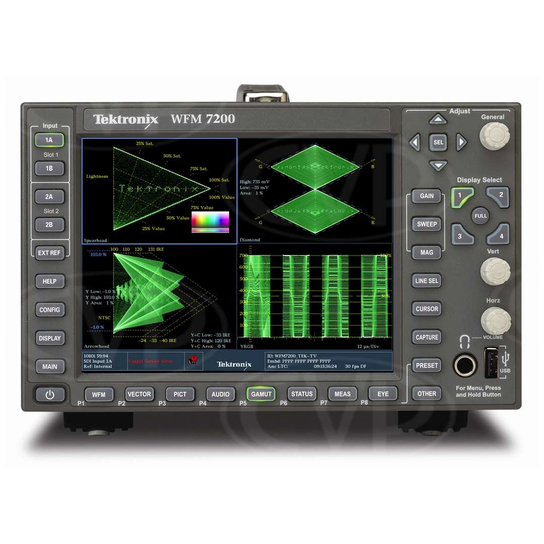 Tektronix WFM7200 (WFM-7200) 3G/HD/SD Multi-Format Waveform Monitor - Front View