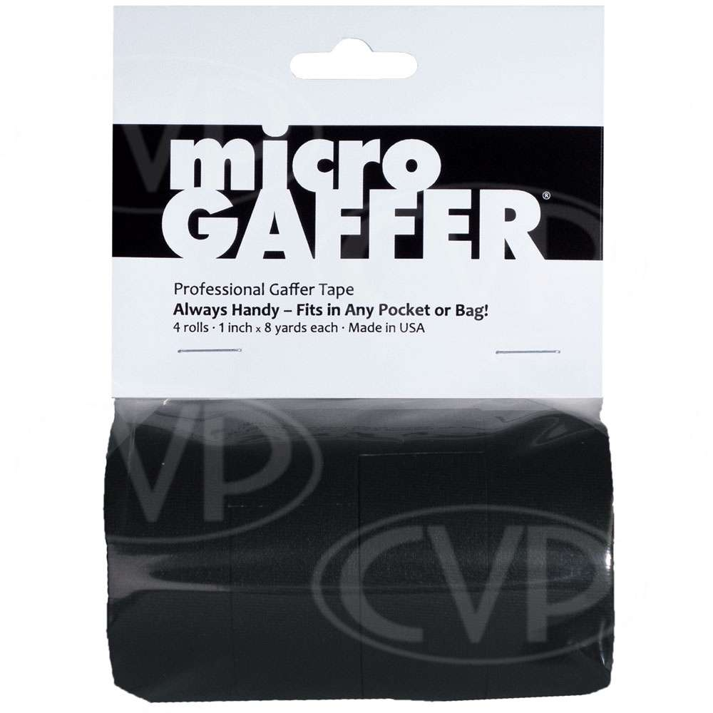Visual Departures microGAFFER tape (Micro Gaffer Tape) (4 pack) 1-inch Wide x 8 Yards Long - 4 Black