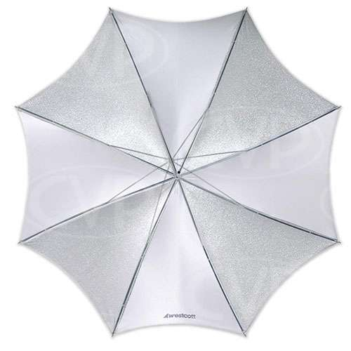 F J Westcott 2002 43inch soft silver collapsable umbrella