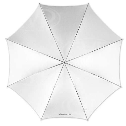 F J Westcott 2001 43inch optical white satin collapsible umbrella