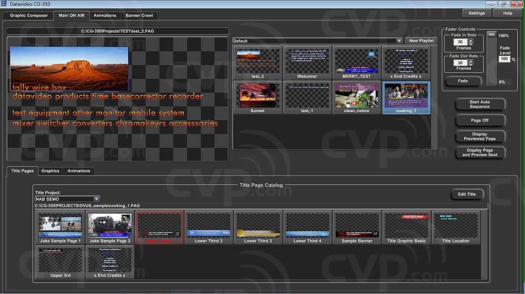 CG-350 HD/SD Character Software