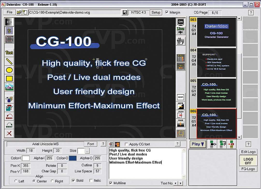 Datavideo CG-100 (CG100) Live Character Generator Software