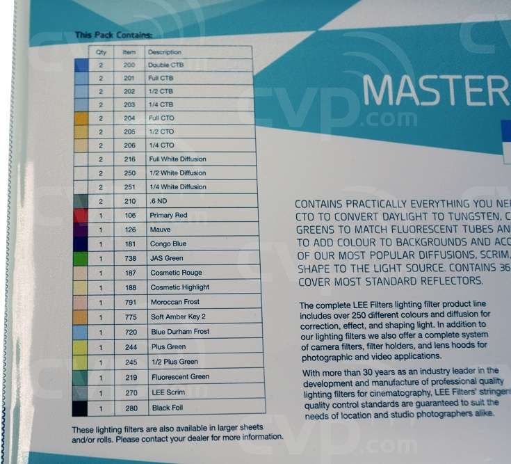LEE Filters Master Location Pack - includes 36 sheets of