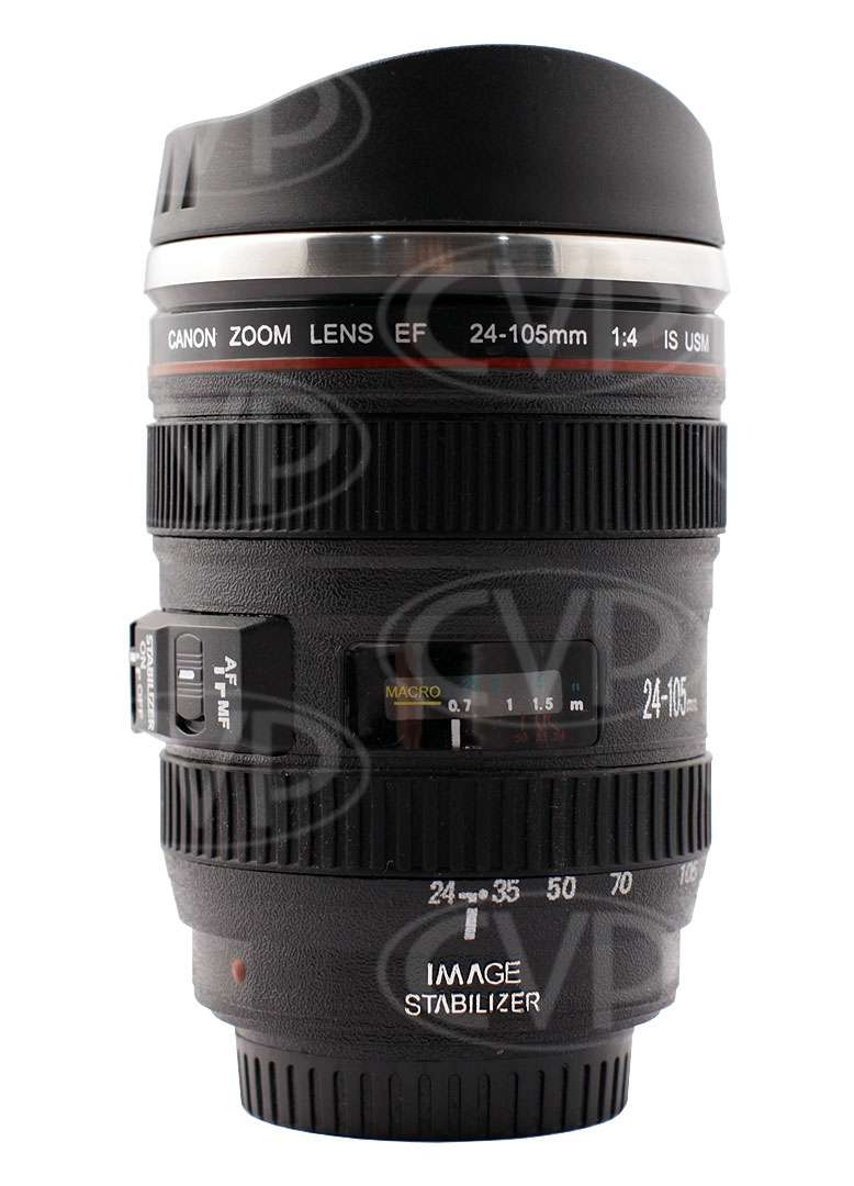 Canon 24-105mm styled insulated cup / mug with lens cap