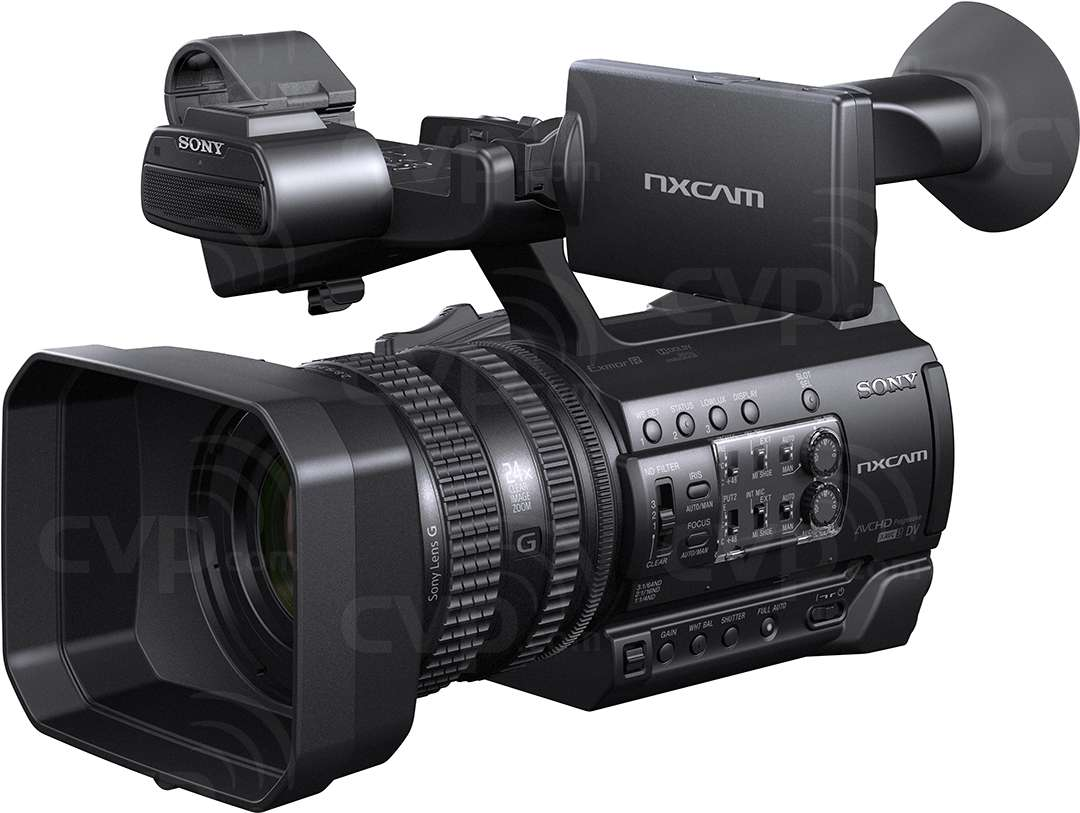 Sony HXR-NX100 front angled view