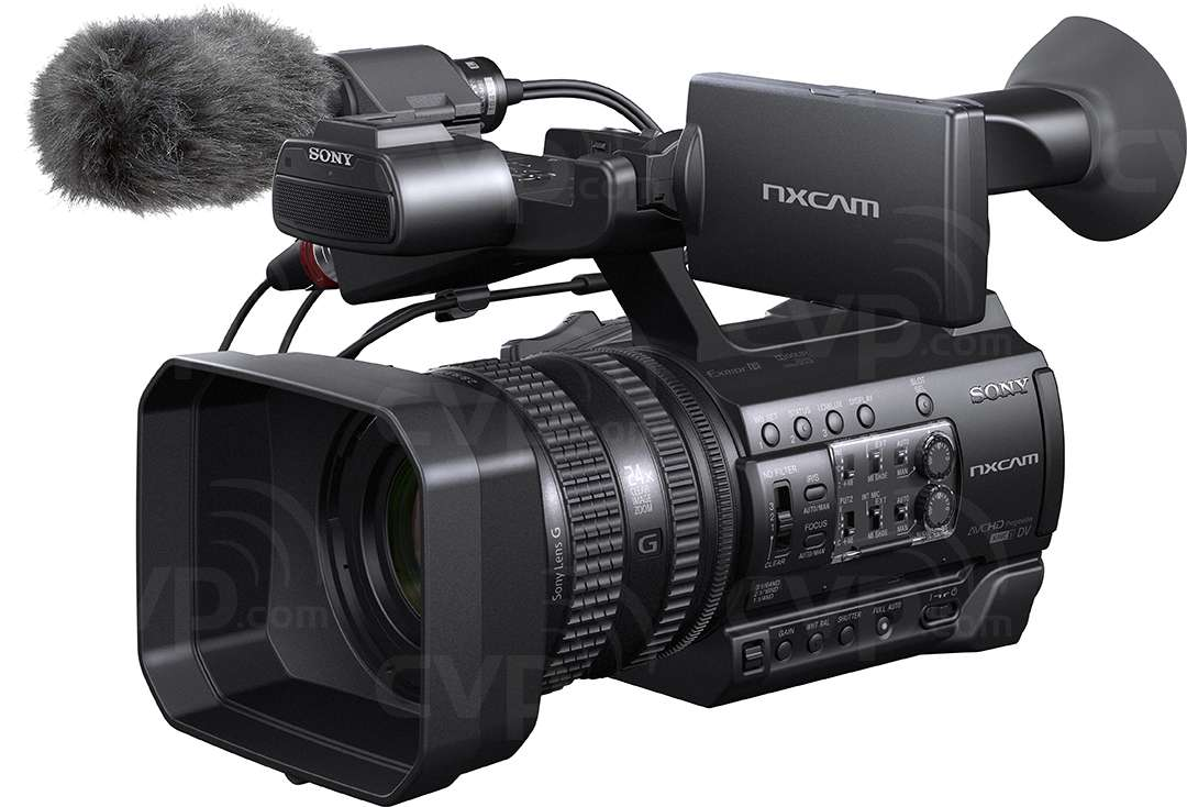 Sony HXR-NX100 front angled view with mic