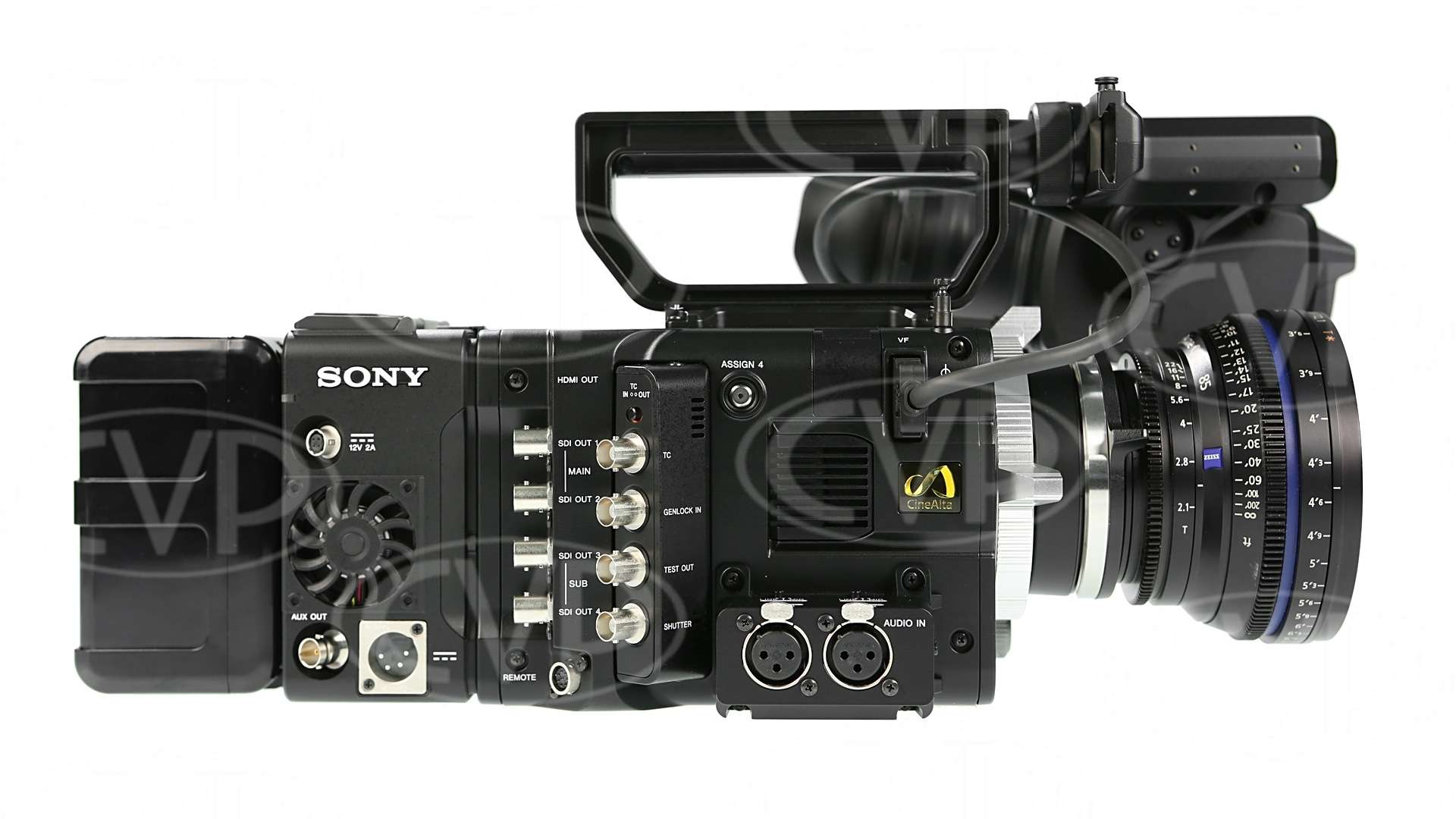 Sony PMW-F55 fitted with AXS-R5 recorder, DVF-L350 Viewfinder, BP-FL75 battery and Zeiss CP.2 Lens