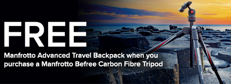 Buy a Manfrotto Befree Carbon Fibre Tripod and claim a FREE Manfrotto Advanced Travel Backpack
