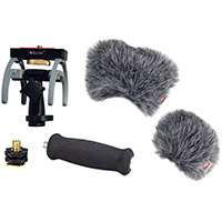 Rycote Audio Kit (HD) Including 1x Soft Grip Extension Handle, 1x Recorder Suspension Mount, 1x Hot Shoe Adapter and 2x Mini Windjammer for the Zoom H6 Portable Recorder (p/n 046023)
