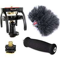 Rycote Audio Kit for the Sony PCM D50 Portable Digital Audio Recorder, Including 1x Shock Mount, 1x Soft Grip Handle, 1x Hot Shoe Adapter and 1x Windjammer (p/n 046002)