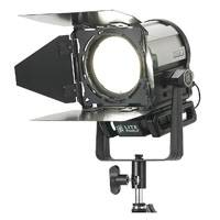 Litepanels Sola 4 - Daylight LED Fresnel including Sola 4 Daylight Fresnel fixture with 4-inch lens, 4-Way (4-Leaf) Barndoor, Manual Yoke, Power Supply and US & EU Power Cords (p/n 906-4004)