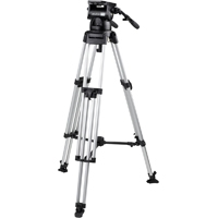 Miller (2070) Skyline Tripod System Including 70 Fluid Head, Heavy Duty Single stage Alloy Tripod, Mid Spreader, 2 x Pan Handles and 1 Set of Rubber Feet