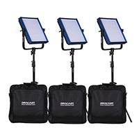 Dracast The Studio Plus Kit - Three LED1000 Plus Heads with Stands and Soft Cases - With AC Adapters and Battery Plates (DRPL-STU)