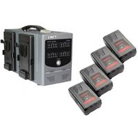 Swit Electronics 4x S-8192S 92+92Wh Dividable V-mount Battery Packs and 1x Swit D-3004S V-Mount Charger