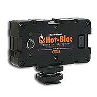 Hawk-Woods HB-D1 (HBD1) Hot-Bloc - 3-Way Hot-Shoe Adapter for Canon BP-9 type battery (output: 12V Power-Con)
