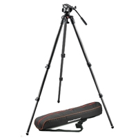 Manfrotto MVK500C (MVK-500C) Lightweight Fluid Video Head (60mm Half Ball) and Single Carbon Fibre Leg Tripod
