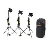 CVP Dedolight 3B-24 Lighting Kit including 3x Dedolight 150W / 24v Dedolights, 3x Stands, 3x Dimmers and 1x Case
