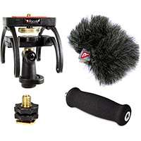 Rycote 046018 Zoom Q3HD Audio Kit including windshield, suspension, shoe adapter and grip handle