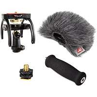 Rycote 046010 Zoom H1 Audio Kit including windshield, suspension, shoe adapter and grip handle