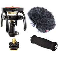 Rycote 046006 Tascam DR-07 Audio Kit including windshield, suspension, shoe adapter and grip handle