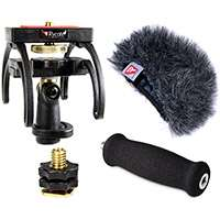 Rycote 046003 Tascam DR-100 and DR-100MkII Digital Recorder Audio Kit including windshield, suspension, shoe adapter and grip handle