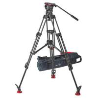Sachtler 1043 Eng 2 MCF System FSB 10 Including FSB 10 Fluid Head - Sideload Version (S2045-0001), Tripod ENG 2 CF (5386), Mid-Level Spreader with Rubber Feet and Padded Bag