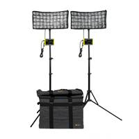 Ikan CB8-2PT-KIT (CB82PTKIT) Canvas Bi-Colour 2-Point LED Light Kit - with Bag, Stand, Charger, Filters and Battery