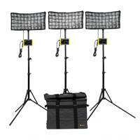 Ikan CB8-3PT-KIT (CB83PTKIT) Canvas Bi-Colour 3-Point LED Light Kit - with Bag, Stand, Adapter and Softboxes