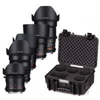 Samyang VDSLR Lens Kit 3 - Contains 14mm - 24mm - 35mm - 50mm - 85mm Lenses and Custom Case, Canon EF Mount (7410)