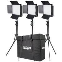 Datavision DVS-LEDGO-600LK3 (DVSLEDGO600LK3) Three LEDGO-600 Daylight Location Lighting Kit with, 3x Stands and Carry Case