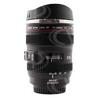 Canon 24-105mm EF Lens Styled insulated Cup / Mug with Stainless Steel interior and Lens Cap Lid - Ideal Gift for Photographers