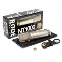 Rode NT1000 (RODENT1000) Studio Condenser Microphone with cardioid polar response with pouch & M2 stand mount