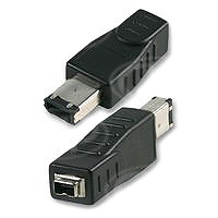 Firewire Adapter, 4 Pin Female to 6 Pin Male, Crossed