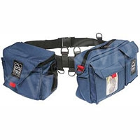 Portabrace BP-3 (BP3) Waist Belt Production Pack with two pouches (includes AC pouch) for tapes, microphones, mic stands, wide angle lens adapters and more (blue)