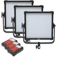 F&V K4000S SE Bi-Colour 3200K to 5600K LED Studio Panel 3 Light Kit and Nomis NVM-95 95Wh V-Mount Battery (p/n 70000040)