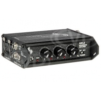 Sound Devices HX-3 (HX3) Stereo headphone amplifier, three outputs, accepts balanced and unbalanced level inputs, powered from 2-AA batteries for external DC.