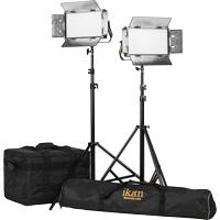 Ikan LB5-2PT-KIT (LB52PTKIT) Lyra Bi-Colour Soft Panel Half x 1 Studio & Field LED 2 Light Kit with Gold & V-Mount Battery Plate