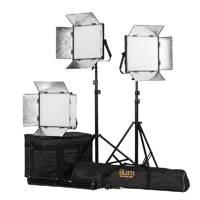 Ikan LB10-3PT-KIT (LB103PTKIT) Lyra 1 x 1 Bi-Colour (3200K-5600K) 3-Point Soft Panel LED Light Kit with Gold and V-Mount Battery Plate