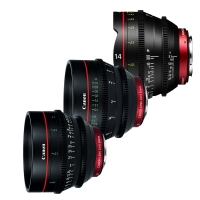 Canon CN-E EF mount prime lens set including 14, 24, and 50mm 4K digital cinema lenses (CN-E14mm, CN-E24mm, CN-E50mm)
