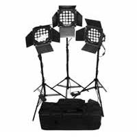 Lishuai LED21X3WAK-3 (LED21X3WAK3) 3 Head LED Lighting Kit with Stands, Barn Doors and Case.