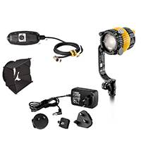 Dedolight SYS-DLED2Y-BI - Bi-colour Lighting System Including a 20W LED Light Head, 8-Leaf Barndoor, Power Supply and DC Ballast (SYSDLED2YBI)