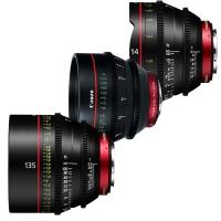 Canon CN-E EF mount prime lens with Peli Case including 14, 50, and 135mm 4K digital cinema lenses (CN-E14mm, CN-E50mm, CN-E135mm)